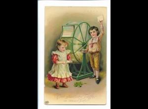 Y19874/ Neujahr Lostrommel Glücksspiel Litho Glanz AK 1911