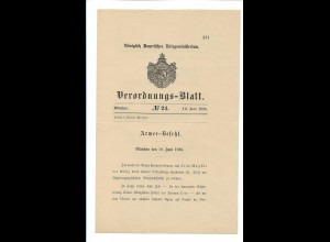 C4524/ Verordnungs-Blatt München 10.6.1886 Armee-Befehl