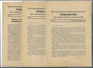C4528/ Wissenschaftliche Feldpostbrief 3 Hefte 1944 Hansische Uni hamburg