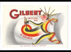 C2428/ Löschpapier Gilbert a meilleure Mine Belgien Buntstifte altes Werbeblatt