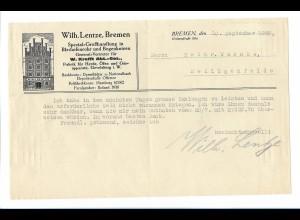 C4505/ Wilh. Lentze, Bremen Blechofenrohre Großhandlung Brief 1925