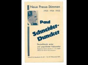 C4502/ Paul Schneider-Duncker Kabarettist aus Berlin Faltblatt 1935
