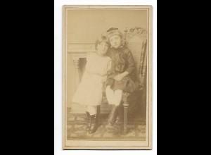 Y19623/ CDV Mädchen Schwestern Kinder Foto Ernst Rieks, Norden ca.1880
