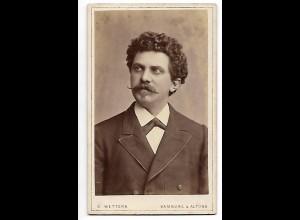 Y19633/ CDV junger Mann mit Schnurrbart Foto D. Wettern, Hamburg ca.1885