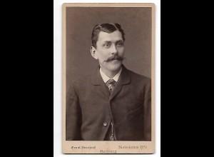Y19634/ CDV junger Mann mit Schnurrbart Foto Ernst Bernhard, Hamburg ca.1885