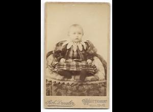 Y19624/ CDV kleines Mädchen Baby Foto Rob. Dressler, Charlottenburg ca. 1880