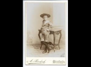 Y19651/ Kabinettfoto Junge mit Hut Foto A. Brockesch, Regensburg 1893