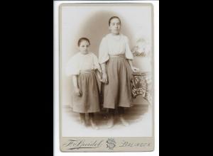 Y19916/ Kabinettfoto zwei Mädchen Geschwister Foto F. Speidel, Balingen ca.1900