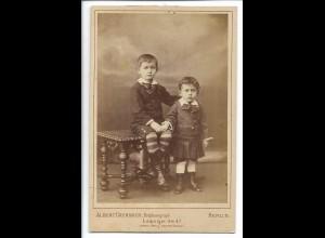 Y19917/ Kabinettfoto Kinder Geschwister Foto Albert Grunder, Berlin ca.1885