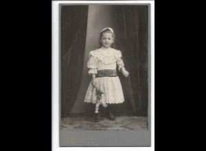 Y19685/ Kabinettfoto kleines Mädchen Foto Gebr. Müller, Hamburg ca.1905