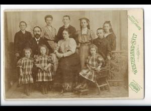 Y19654/ Kabinettfoto große Familie Foto Bernd Lassen Westerland Sylt ca.1900