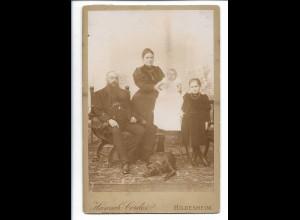 Y19682/ Kabinettfoto Familie mit Hund Jagdhund Foto H.Cordes, Hildesheim ca.1905