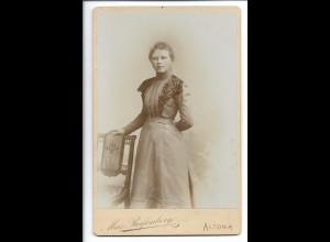 Y19679/ Kabinettfoto junge Frau Foto Max Reifenberg, Altona ca.1905