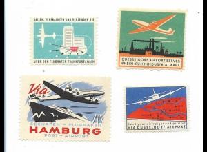 Y19733/ 6 x Reklamemarke Flugzeuge Flughafen Hamburg, Frankfurt, Düsseldorf
