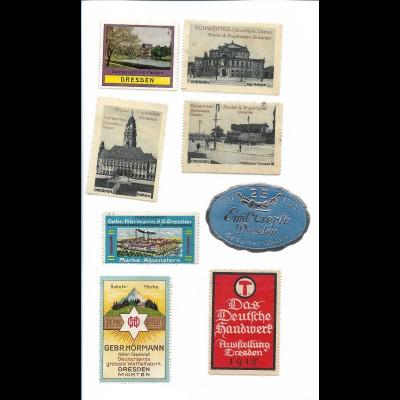 Y19731/ 7 x Reklamemarke aus Dresden 1915-1932