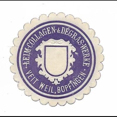 Y19734/ Siegelmarke Leim Collage & Degras Werke Veit Weil, Bopfingen ca.1910