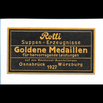 Y19729/ Reklamemarke Rotti Suppen-Erzeugnisse Osnabrück Würzburg 1927