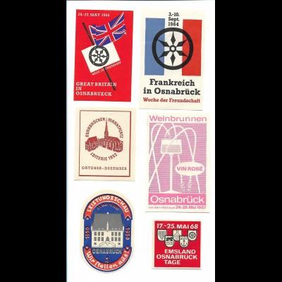 Y19730/ 6 x Reklamemarke Osnabrück 1950 -1968
