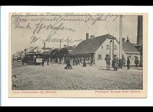 XX14123/ Lodz Petrikauer Straße Ecke Glowna Straßenbahn AK Polen 1915