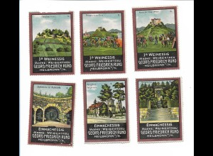 Y19757/ 6 x Reklamemarke Georg Friedr. Rund Heilbronn ca.1912