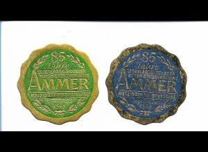 Y19788/ 2 x Siegelmarke Metzingen 85 Jahre Lederlager Polster Ammer, 1933