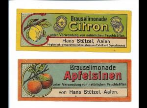 Y19868/ 2 Etiketten Brauselimonade Hans Stützel, Aalen ca. 1925