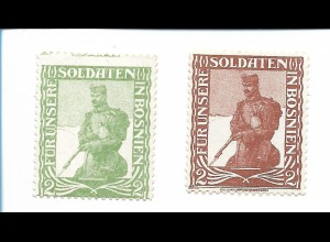 Y19858/ 2 x Spendenmarke Für unsere Soldaten in Bosnien ca.1915