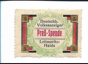 Y19863/ Spendenmarke Leitmeritz-Haida Deutschböhm. Volksanzeiger Preß-Spende