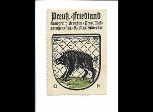 Y19829/ Reklamemarke Preuß. Friedland Westpreußen Wappen Kaffee Hag