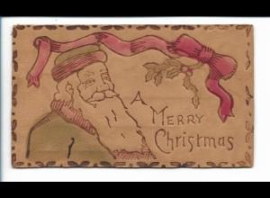 XX14761/ Leder AK Weihnachtsmann A Merry Christmas Weihnachten ca.1905
