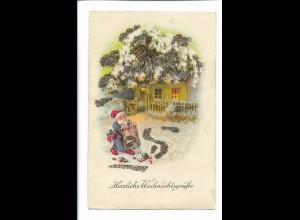 XX14757/ Weihnachten Weihnachtsmann Litho Glimmer AK