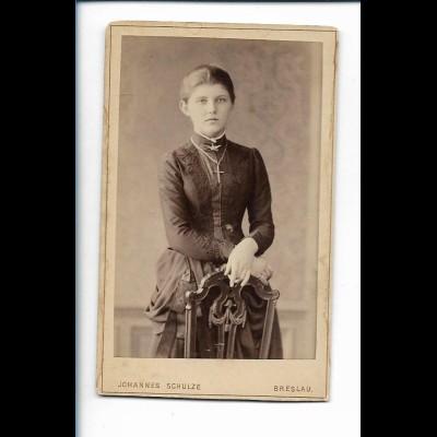 XX14817/ CDV Foto JUnge Frau Atelier Joh. Schulze, Breslau Schlesien ca.1895