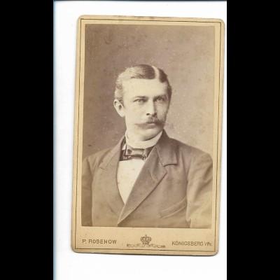 XX14816/ CDV Foto Mann mit Schnurrbart Atelier P. Rosenow, Königsberg ca.1890