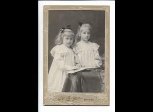 XX14823/ Kabinettfoto Mädchen Geschwister Atelier H. Mediyer, Moskau Russland