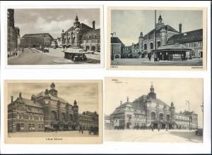 XX14805/ 4 x alte AK Lübeck Bahnhof