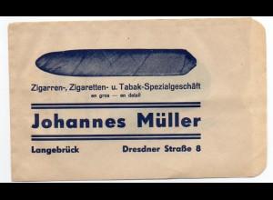 c822/Zigarren Zigaretten Tabak-Geschäft J. Müller, Langebrück Papiertüte ca.1930