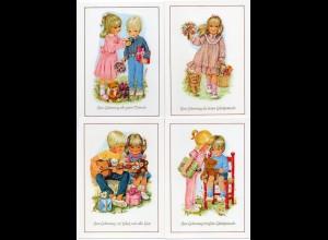 W8Y43/ 8 x AK Geburtstag Kinder ca.1970 Teddy Hund