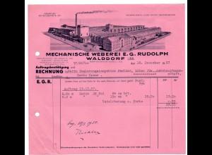c845/ Rechnung Weberei Rudolph, Waldorf i. Sa. 1937