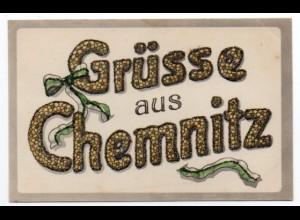 W9D91/ Grüsse aus Chemnitz AK mit Glimmer ca.1910