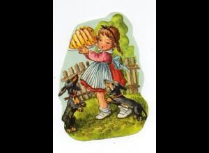 W9E39/ Oblate Mädchen mit Dackel und Kuchen