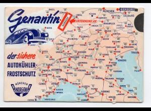 W9G76/ Genantin Autokühler Frostschutz Reklame Entferungstabelle ca.1935