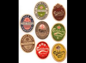 W9L09/ 13 Flaschen-Etiketten Carlsberg Bier