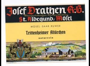 W9H35/ Weinetikette Trittenheimer Altärchen Josef Drathen , St. Aldegund Mosel