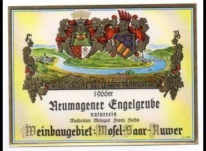 W9H36/ Weinetikette Neumagener Engelgrube 1966 Weingut Franz Fuchs, Mosel-Saar