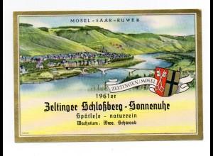 W9H37/ Weinetikette Zeltinger Schloßberg-Sonnenuhr 1961 Mosel-Saar-Ruwer