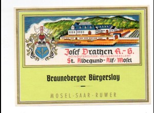 W9H41/ Weinetikette Brauneberger Bürgerslay Josef Drathen, St. Aldegund Alf