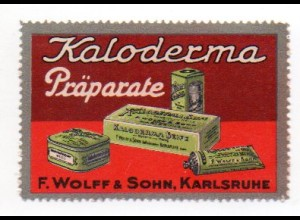 W9J50/ Kaloderma Präparate Wolff & Sohn Karlsruhe ca.1912 Vignette Reklamemarke