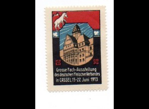 W9J61/ Kassel Fach-Ausstellung Fleischer-Verband 1913 Vignette Reklamemarke