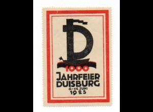 W9K96/ Duisburg 1000 Jahrfeier 1925 Reklamemarke Vignette