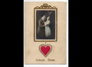 WT949/ Liebespaar Duftende Grüße, Herz aus Seide AK 1912